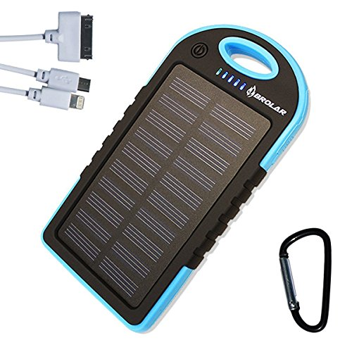 Solar Charger, Brolar 5000mAH Portable Power Bank for iPhone, iPad, Android, Cell Phone, Tablet. Waterproof, DustProof, ShockProof, Portable Charger with Dual USB Port