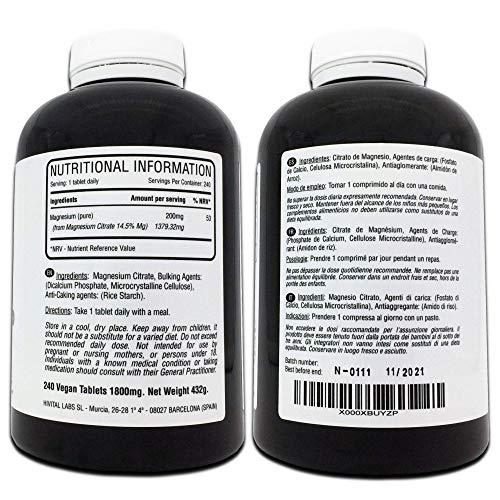 Magnesio puro 200 mg procedente de Citrato de Magnesio   240 comprimidos (Suministro para 8 meses)   Mejora los sistemas muscular y nervioso, ...