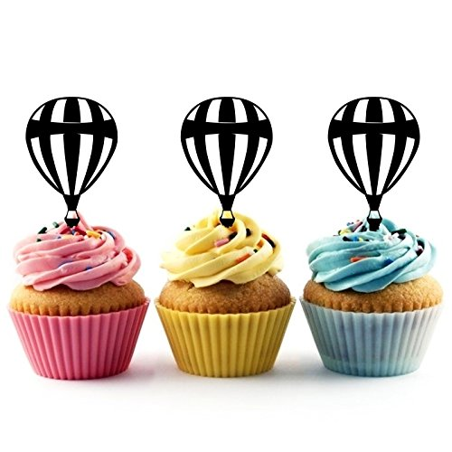 TA0188 Hot Air Balloon Silhouette Party Wedding Birthday Acrylic Cupcake Toppers Decor 10 pcs