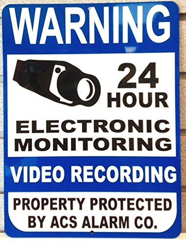 1-Pc Superior Popular Warning Aluminum Sign Anti-Robber Home Security Video Reflective Size 9