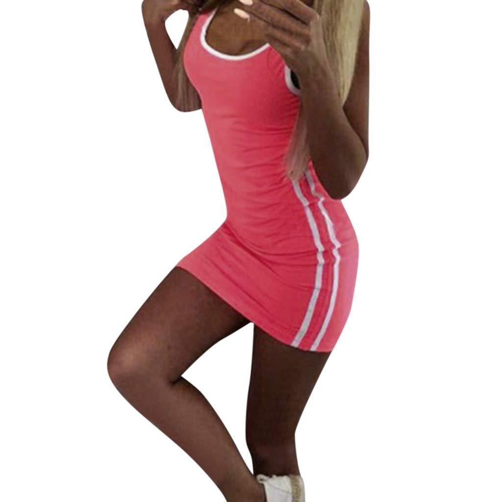 Alangbudu Women's Sexy Bodycon Striped Scoop Neck Sleeveless Tank Top Sports Mini Wrap Dress Orange