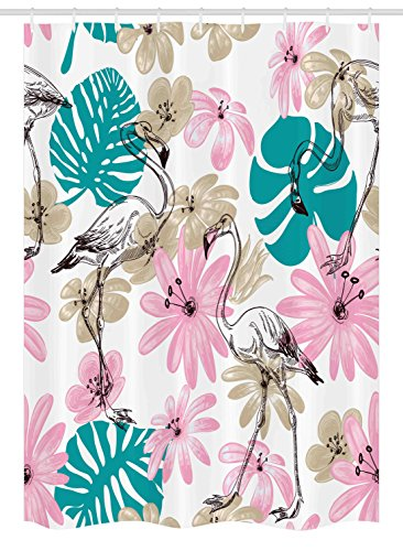 Ambesonne Nautical Stall Shower Curtain, Flamingo Flowers Exotic Garden Birds Animal Blooms Leaves Pattern Artwork, Fabric Bathroom Decor Set with Hooks, 54 W x 78 L Inches, Teal Light Pink Tan (Pink Pattern Teal)
