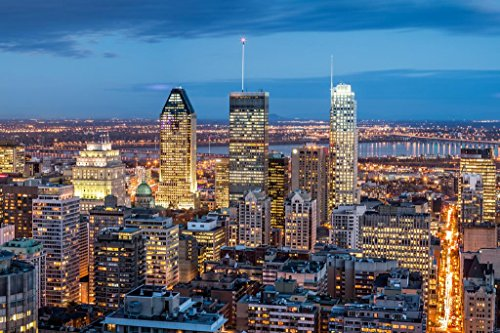 Montreal Canada City Skyline at Dusk Photo Art Print Poster 36x24 inch