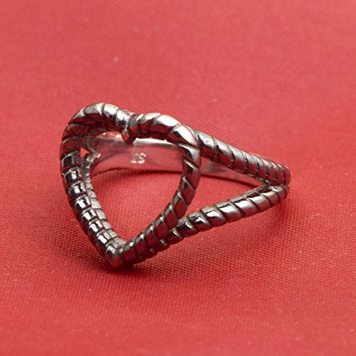 Sterling Silver Oxidised Cut Out Rope Heart Shape Ring