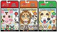 Melissa & Doug Make-A-Face Reusable Sticker Pad Animals 3 Pack (Safari, Farm, P