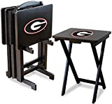 Imperial Officially Licensed NCAA Merchandise: Foldable Wood TV Tray Table Set with Stand, Georgia Bulldogs