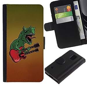 SAMSUNG Galaxy S5 V / i9600 / SM-G900 , la tarjeta de Crédito Slots PU Funda de cuero Monedero caso cubierta de piel ( Dinosaur Rock Music Guitar Monster Art)