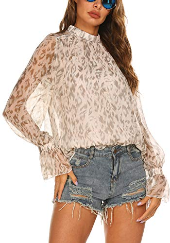 Women's Chiffon Blouse Tops Ruffle Sleeve Semi Sheer Chiffon Shirt Beige,XL