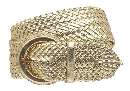- MONIQUE Women Elegant Metallic Braided Woven Faux Leather Oval Buckle 2.5