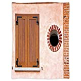 Super Soft Throw Blanket Custom Design Cozy Fleece Blanket,Shutters Decor,Italian Style Old Window Renaissance Mediterranean Urban Life Style Artful Photo,Pink Brown Red,Perfect for Couch Sofa or Bed