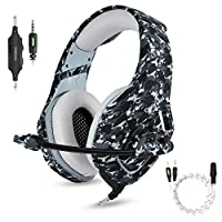Gaming Headset with Microphone for PS4 PC Xbox One,Stereo Over Ear Gamer Headphones with Mic Noise Cancelling for Laptop,Mac,Smart Phones,Nintendo Switch,Playstation 4 -Camo