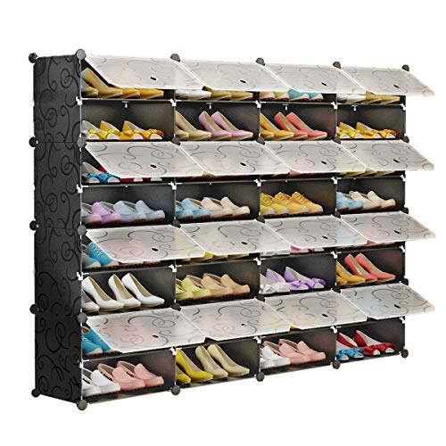 KOUSI Portable Shoe Rack Organizer 72 Pair Tower Shelf Storage Cabinet Stand Expandable for Heels, Boots, Slippers, 8-Tiers Black & Transparent Door ()