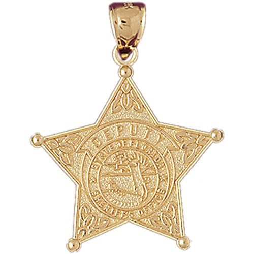 Jewels Obsession State Of Florida Sheriff's Dept Pendant | 14K Yellow Gold State Of Florida Sheriff's Dept. Pendant - 32 mm