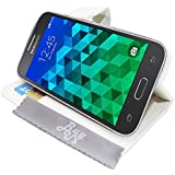 Etui Housse Luxe Blanc Stand et Portefeuille Samsung Galaxy Core Prime SM-G360 \ Core Prime VE Value Edition SM-G361 + STYLET et 3 FILM OFFERT!!