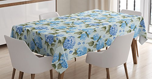 House Decor Tablecloth by Ambesonne, Hydrangea Flowers over Light Background Wedding Bridal Artistic Design, Dining Room Kitchen Rectangular Table Cover, 60 X 90 Inches