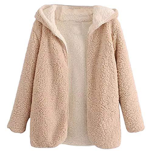 BeautyGal Women's Reversible Open Front Coat Lamb Wool Hooded Cardigan Jacket Teddy Coats Apricot M