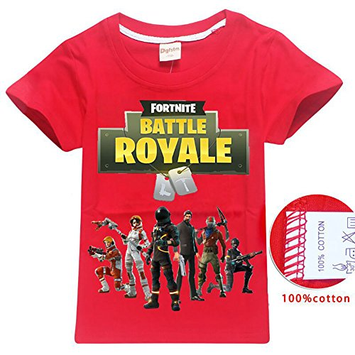 Knowooh Fortnite Gamers Youth T- Shirt for The Girls The Boy (Red, 130) ()