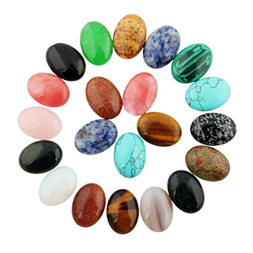 20pcs Cabochon Stone Oval Beads Semi-precious Gemstones Quartz Crystal 25x18mm Charms DIY Beads CAB Random Color Bulk for Jewelry Making(No Holes)