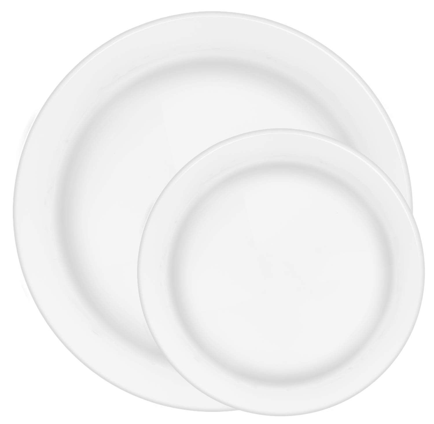 60 Premium Plastic Plates for Dinner Party or Wedding - 30 10.5 Inch & 30 7.5 Inch White Disposable Plate Set by Ilyapa