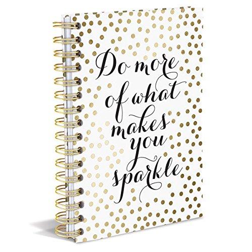 Graphique Sparkle H Hard Bound Journal, 160 Ruled Pages, Gold Polka Dots & Inspirational Inner-Strength Message, Embellished w/ Gold Foil, 6.25