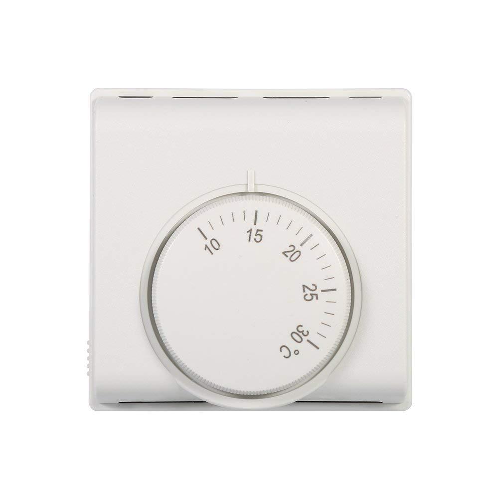 Contr/ôleur dInterrupteur 6A 220V 10-30 /° C Thermostat dAmbiance M/écanique R/églable Blanc