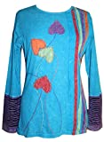 R 002 Knit Cotton stripe flower Boho Gypsy Top Blouse [Turquoise; XL]