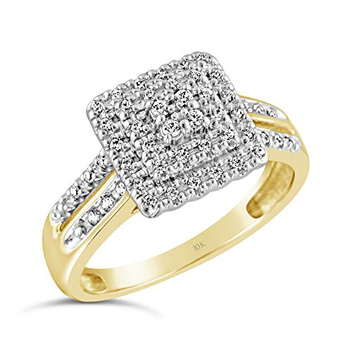 Brilliant Expressions 10K Yellow Gold 1/4 Cttw Conflict Free Diamond Square Cluster Double Halo Engagement Ring Twin Shank (I-J Color, I2-I3 Clarity), Size - Ring Square Engagement Diamond