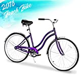 ENSTVER Urban Lady Beach Cruiser Bicycle (Purple w/Black Seat/Grips, 26″ / 1-Speed) For Sale