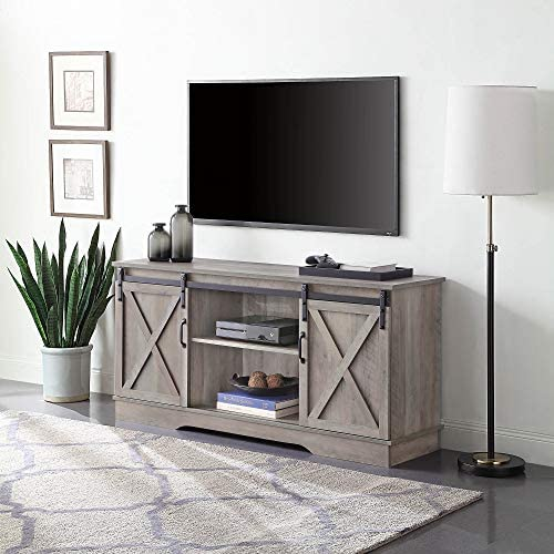 BELLEZE Modern 58 Sliding Television Stand Media Console for TVs Up to 65 , Gray Wash