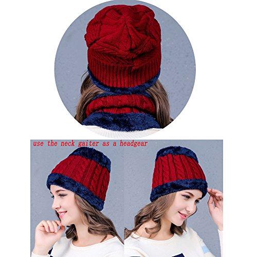 de Gorra forro con esquí Unisex Sombreros con Circle YUGGLE Vino Scarf invierno Knit de y bufanda Set Beanie rojo polar EpRZTqcT