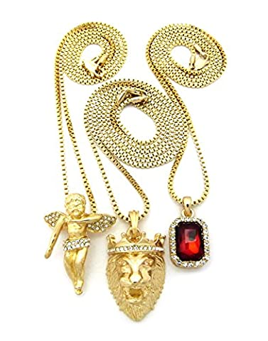 Crown Gold Gemstone, Angel, Lion Micro Pendant - Box Chain 3Pcs Necklace Set (Set I - Red) (Religious Gold Crowns)