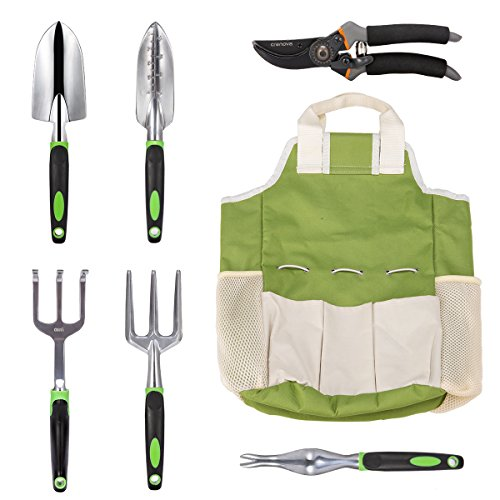CRENOVA 7 Piece Garden Tools Set, Stainless Steel Heavy Duty Gardening Kit with Soft Rubberized Non-Slip Handle, Durable Storage Tote Bag and Pruning Shears, Best Garden Gift for Women & Men by CRENOVA