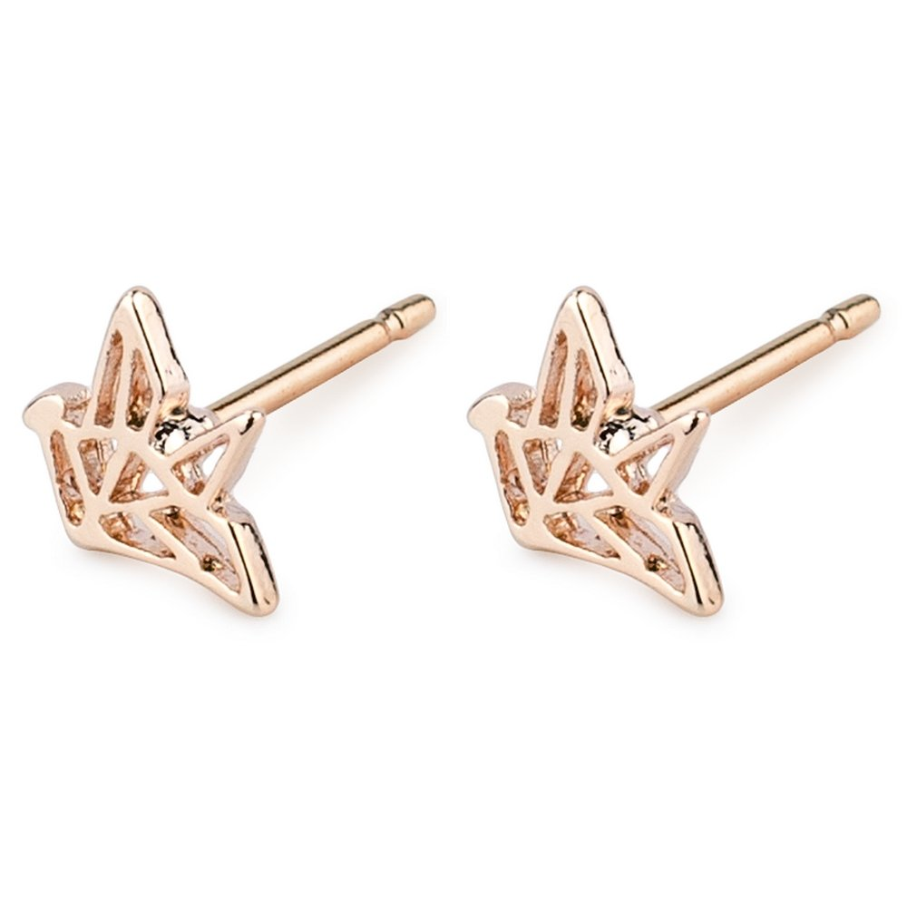 Stud Earring Rose Gold Origami Bird Made With Tin Alloy by JOE COOL