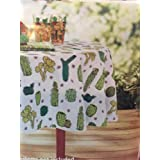 Cactus Theme Vinyl Tablecloth for Texas Western Garden Succulent Floral Green cacti Desert Unique Fun Party Theme (70 in. Round)