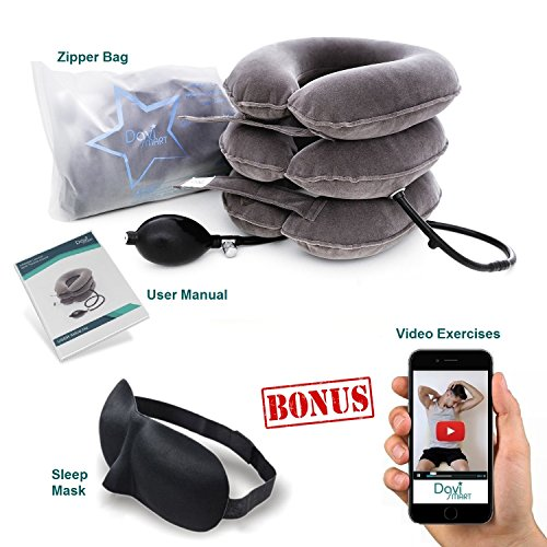 DaviSMART-Cervical-Neck-Traction-Device-Effective-Neck-Pain-Remedy-at-Home-Inflatable-and-Adjustable-Neck-Stretcher-Collar-Pillow-plus-Eye-Mask