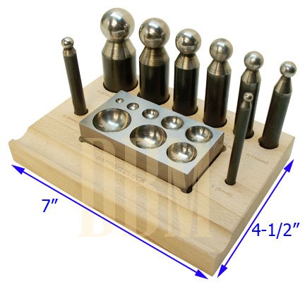 10 PC Set Jeweler Jewelry Dapping Block Doming Punch Puncher Metal Craft Forming