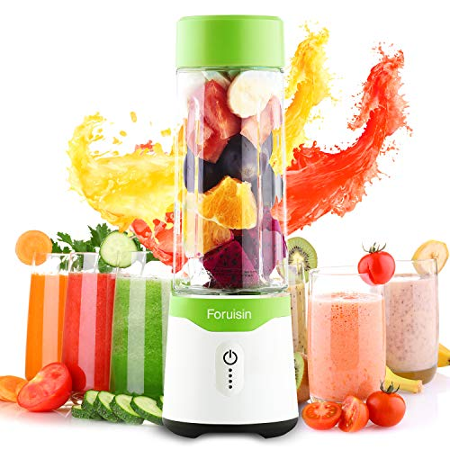 Foruisin Portable Personal Size Blender USB Rechargeable Juicer Cup Fast Mixing Fruit Shakes and Smoothies with Charging Head and Six Blades 500ML 4000mAh BPA-Free (Green)
