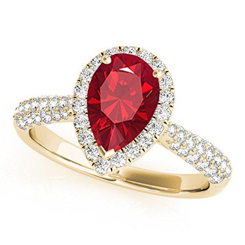 1 Ct. Ttw Diamond And Pear Shaped Created Ruby Ring In 10K Yellow Gold
