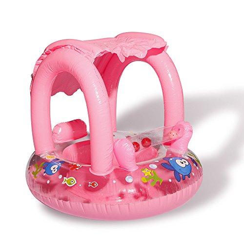 DMAR 60cm Barco Inflable del bebé con el Flotador de la Piscina del toldo para los niños Que nadan el Anillo fo Juguetes de Agua del colchón de mar de la ...