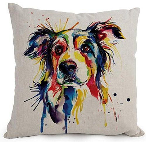 Aresd Cotton Linen Cartoon Lovely Animal Abstract Oil Painting Adorable Pet Dogs Border Collie Throw Pillow Covers Cushion Cover Decorative Sofa Bedroom Living Room Square,18X18 Inch