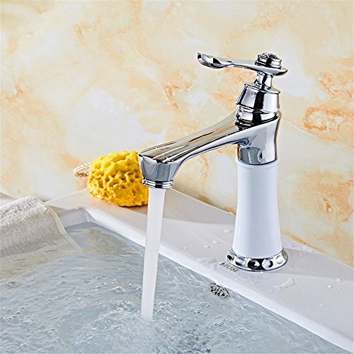 YSRBath Modern Bathroom Sink Mixer Faucet Hot and Cold White Kitchen Taps Bathroom Basin Mixer Tap Basin Faucet