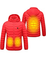 Sidiou Group Electric Heated Jacket Mens and Women Adjustable Temperature USB Heated Clothing Winter Warm Lightweight Cotton Coats Down Jacket Hoodie(Not Include Mobile Power)