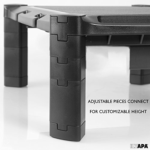 Adjustable Computer Monitor Stand with Cable Management System & Slot for Phone or Tablet - Height Adjustable Desktop Riser for Monitors, Laptop & More by Ilyapa (Image #4)
