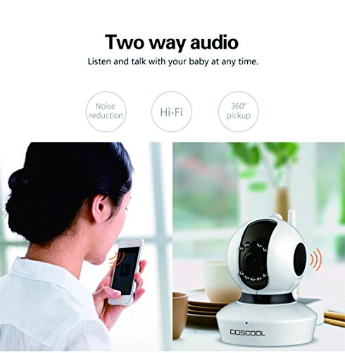 CosCool IP Camera 1080P Wireless,Wifi Surveillance Camera Network Security Webcam,Microphone Inside,Two Way Audio,Onekey Wifi Fast Setting,Night Vision,ONIVF,Pan/Tilt Movement Baby Pet Video Monitor by CosCool (Image #5)