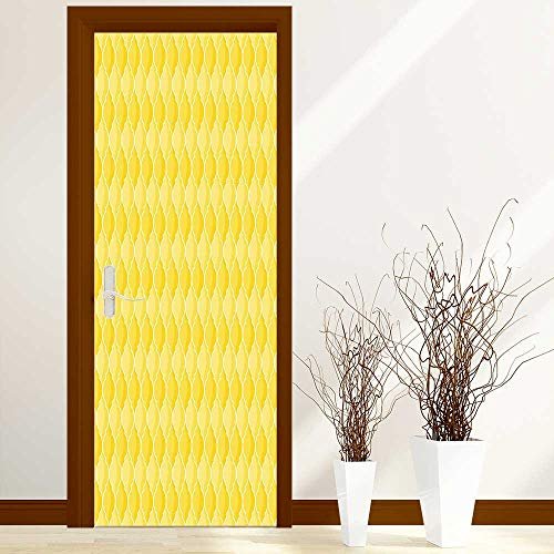 L-QN Creative Door Stickers Bedroom Doors Quatrefoil Moroccan Themed Oval Geometric Ombre Pattern Artwork Yellow Merigold and White Indoor and Outdoor use W38.5 x H77 inch