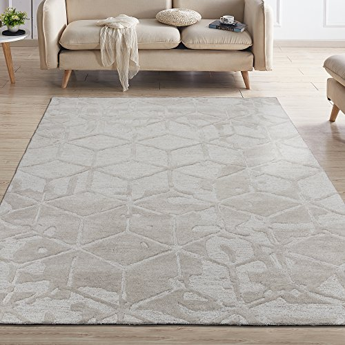 Silk Road Concepts SR-HWR121-5X7 100% Wool Hand Tufted Contemporary Area Rug, 5' x 7', Beige 3D Cube