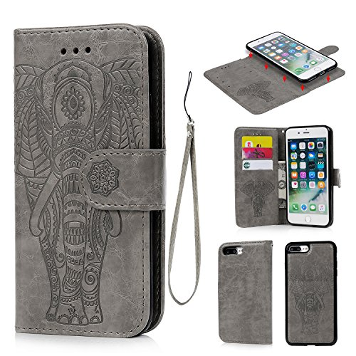 iPhone 8 Plus Case, iPhone 7 Plus Case PU Leather Wallet Case Oil Wax Embossed Elephant TPU Inner Detachable Magnetic Credit Card Holders for iPhone 7 Plus & iPhone 8 Plus Gray - Elephant Embossed