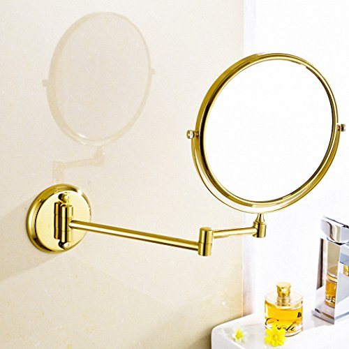 700Brass 8 Inch Make Up Mirror Design for Hotel/Motel/Home, Solid Brass, Polished Gold, Wall Mounted, Bathroom/Kitchen Hardware Holder ()