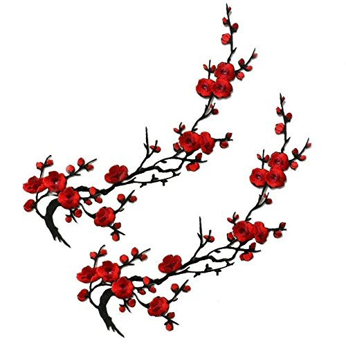 EmmasByEmma Two Asian Cherry Blossom Sakura Flower Iron on Embroidered Appliques Patch Japanese Chinese (Red)