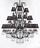 Large Wrought Iron Chandelier Chandeliers Lighting With Crystal Balls! H60'' x W52'' - Great for the Entryway, Foyer, Family Room, Living Room! w/Black Shades